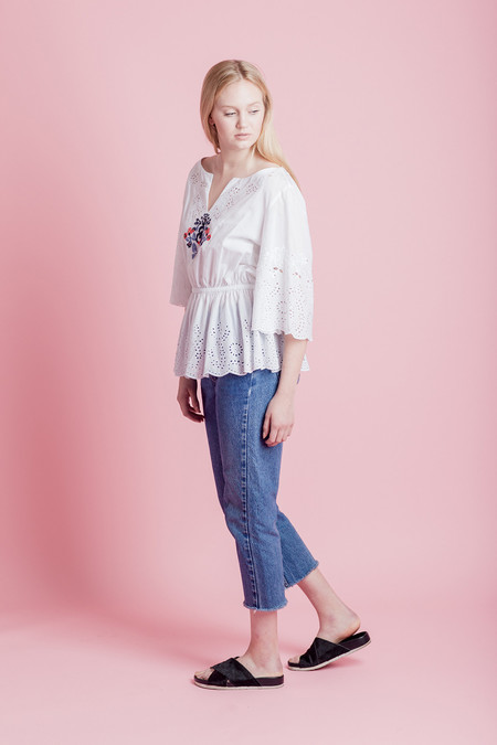 SUNO EMBROIDERED TOP