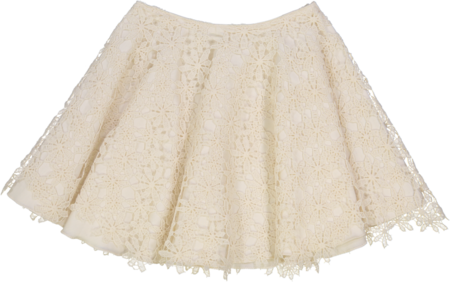 Petit Mioche organic cotton Skirt w/ flower lace