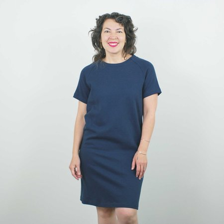 Atelier b. Straight Cut Dress w/Sleeve - Navy