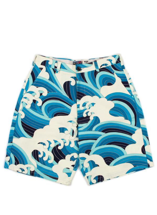 Men's Blue Blue Japan Wave Pattern Sailcloth Shorts