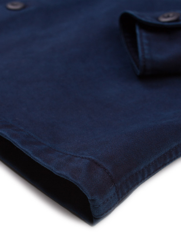 Men's Blue Blue Japan Woven Indigo Hand Dyed Cotton Satin 2 Pocket LS Shirt