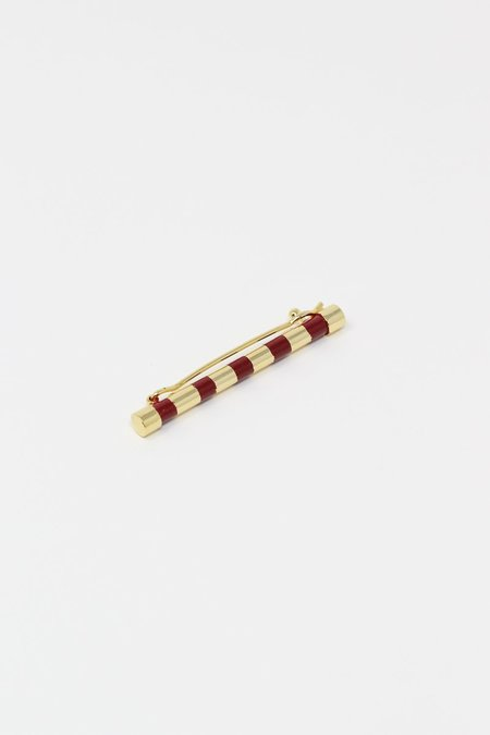 Abby Carnevale Striped Barrette with Hand Painted Resin - Cardinal/Gold