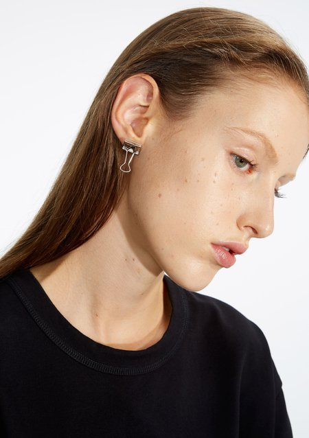 Unisex Cough In Vain Binder clip single ear stud - Plated Platinum
