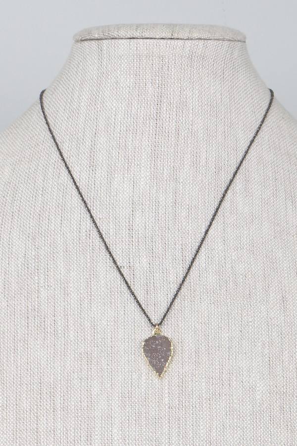 Mickey Lynn ML4221 Petal Druzy Blackened Silver Chain