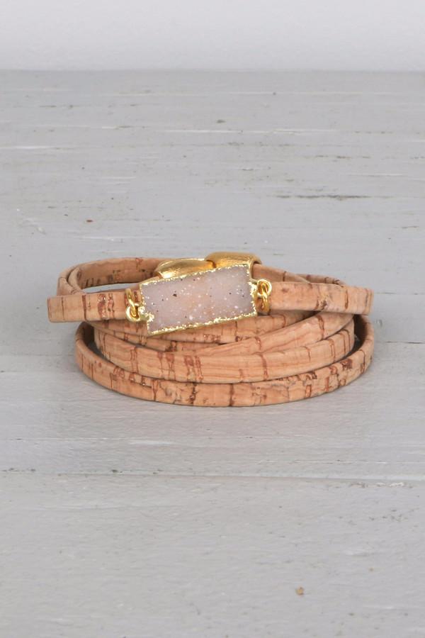 Mickey Lynn ML8015 Cork Wrap W/ Rectangle Druzy