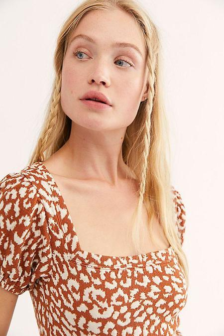 Free People No Type Top - Brown Leopard