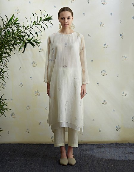 Eka Ally Floral Handloom Dress With Mint Stripes - Off White
