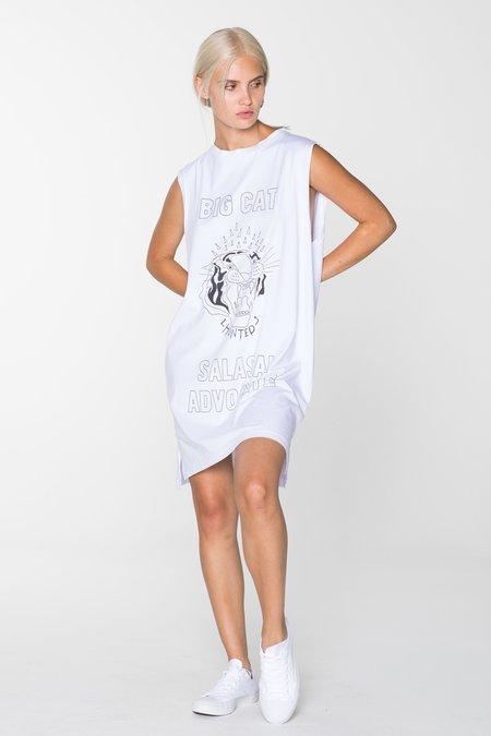 SALASAI BIG CAT TANK DRESS - WHITE
