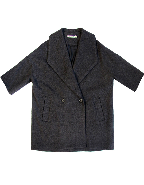 Ali Golden Grey and Black Shawl Collar Coat
