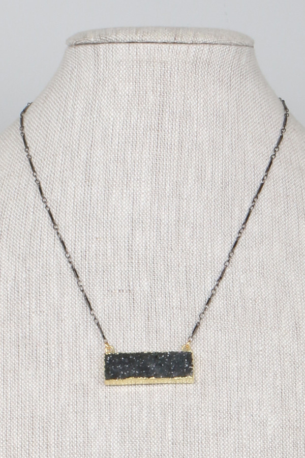 Mickey Lynn ML7538GM Gun Metal Rectangle Druzy