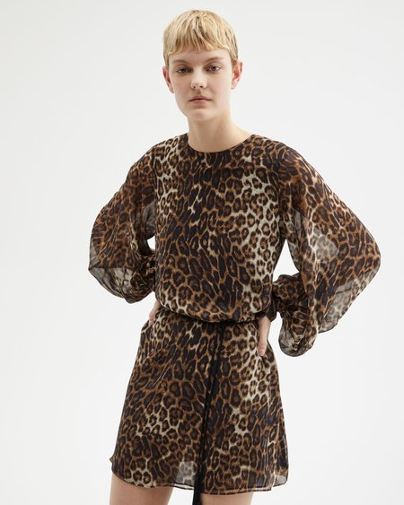 Nili Lotan Rebeca Dress - BROWN LEOPARD PRINT