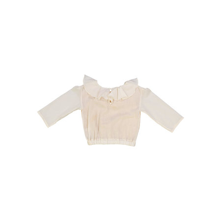 Kids Petit Mioche ruffle blouse w/ long sleeves - bicolore