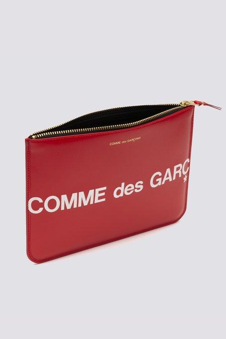 Comme des Garçons Leather Huge Logo Zip Wallet - Red