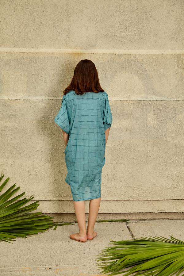 Tantuvi Cocoon Caftan Dress- Sea Grid