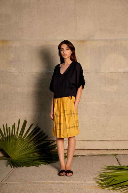Tantuvi Pleated Midi Wrap Skirt- Sunray
