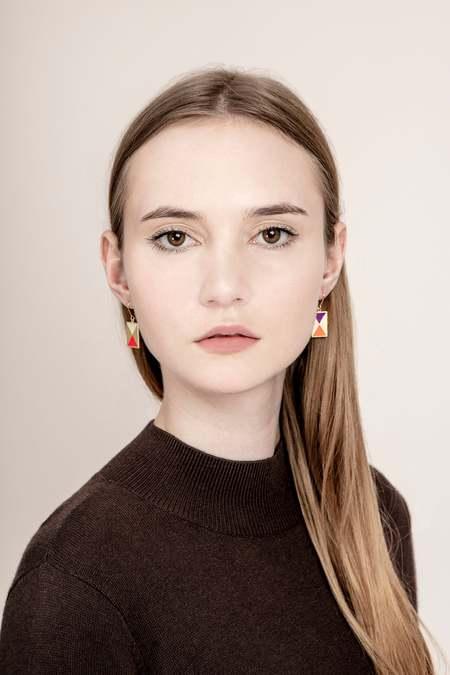 Matter Matters Color Block Earrings w/ French Hook