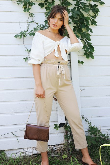 Lucca Couture Paper Bag Trousers - Tan