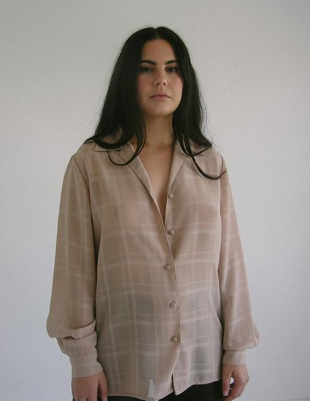 Vintage Leigh Collective Grid Blouse - Tan