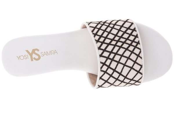 Yosi Samra Reese Linear Hair Calf Slide in White