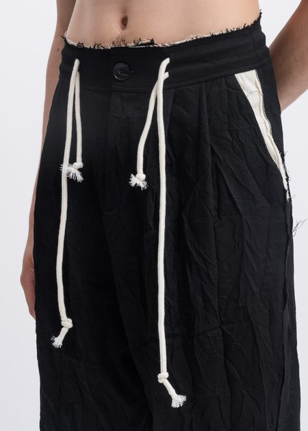 Faineant Wrinkled Drawstring Trousers - Black