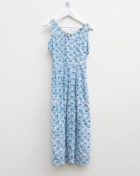 Vintage Lilli Designs Patterned Cotton Cut-Out Dress - Blue