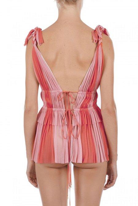 Elena Makri Aphrodite pleated silk-tulle top - Coral/pink