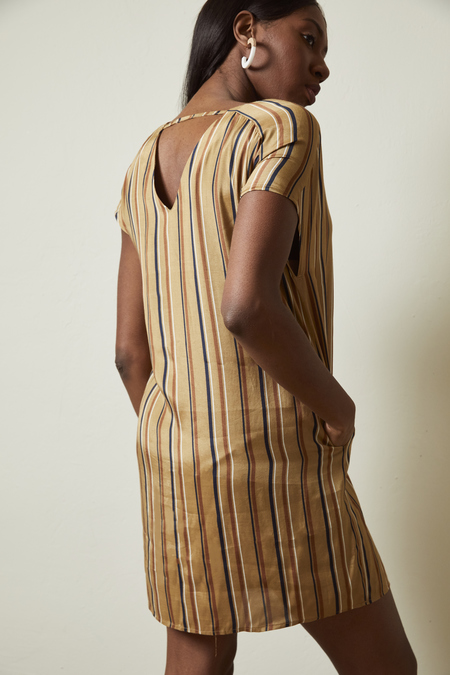 The Korner V-Neck Short Sleeves Striped Dress - Camel