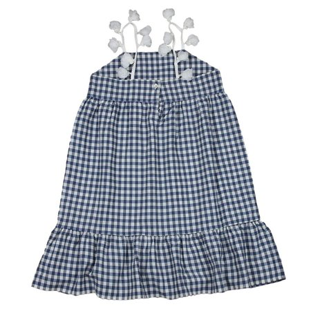 KIDS babe and tess dress - check indigo