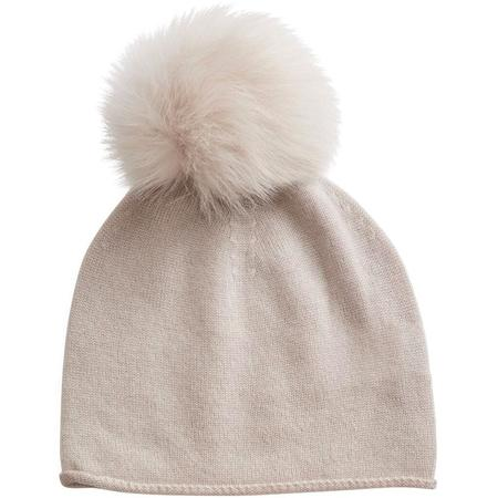 KIDS belle enfant rabbit fur trim pompom hat - alabaster