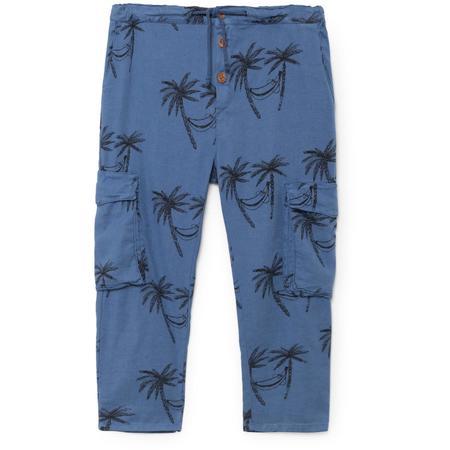 Kids Bobo Choses Siesta Cargo Linen Pants - Blue