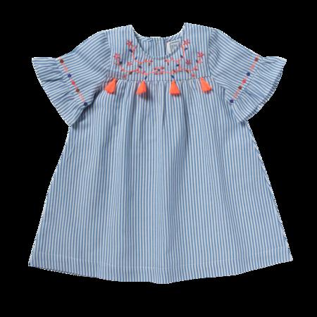 kids bonheur du jour goya dress - blue/white stripes