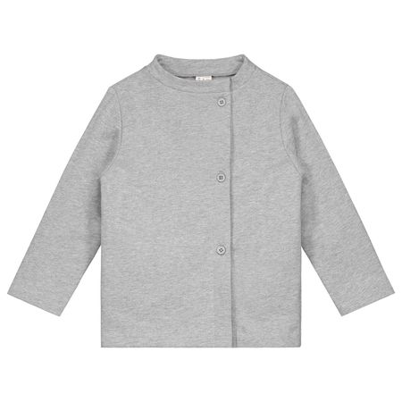 Kids gray label button cardigan - grey melange