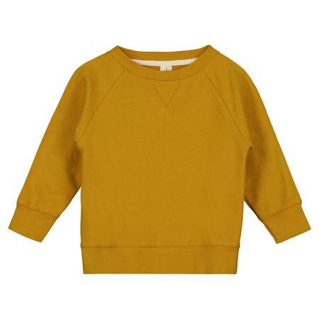 Kids Unisex Gray Label Crewneck Sweater - Mustard