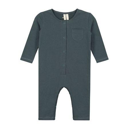 kids gray label long sleeve playsuit - blue grey