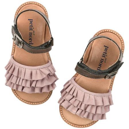 Kids petit nord ruffles sandal - dream nude