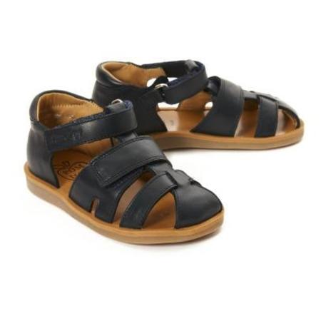kids pom d'api poppy strap leather sandals - navy blue