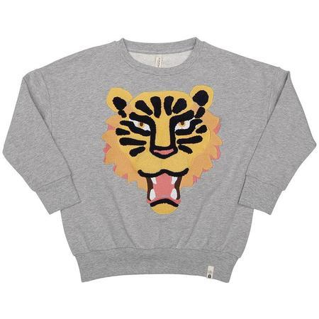 kids popupshop loose sweat tiger embroidery - heather grey