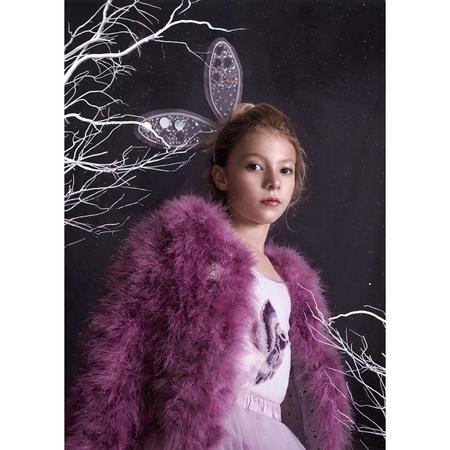 Kids TUTU DU MONDE Winter's Fire Marabou Jacket - Royal Orchid