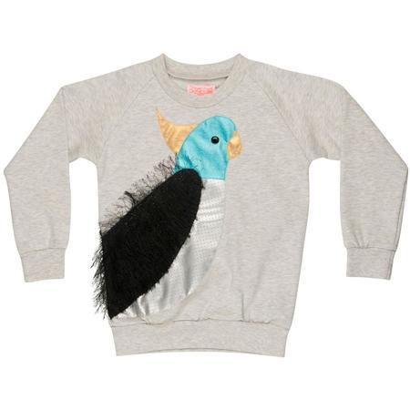 Kids Wauw Capow By Bangbang Copenhagen Tropical Sweatshirt - Light Grey Melange