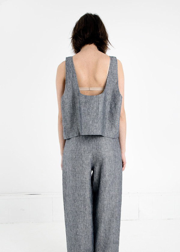 Study NY Grey Stripe Oversized Tank Top