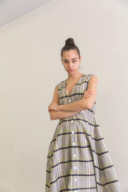 NIKKI CHASIN SLEEVELESS BARONESS DRESS - CANDY PLAID