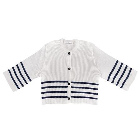 kids Pequeno Tocon Baby Cardigan - Natural Cream/Navy Blue Stripes