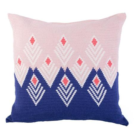 D.A.R. Projects Handmade Floor Cushion Cover - Coral Pink/Ultramarine Blue