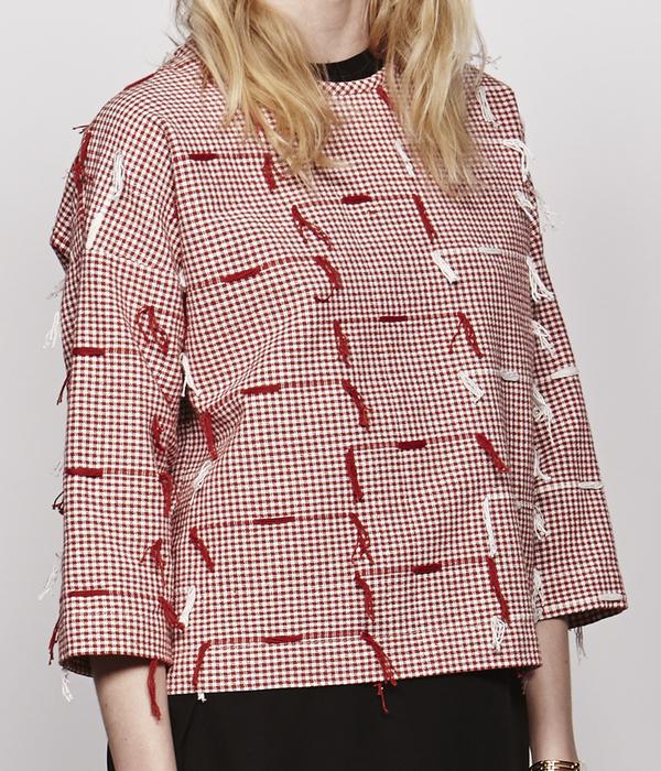 Nikki Chasin Woven Fringe Drop Sleeve Top