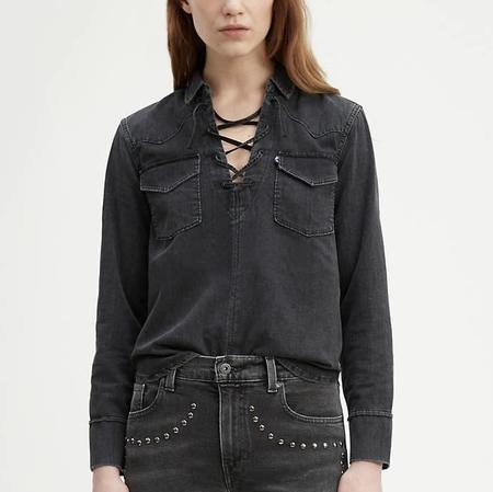 Levi's Made & Crafted LMC Denim Lace Up Top - Black