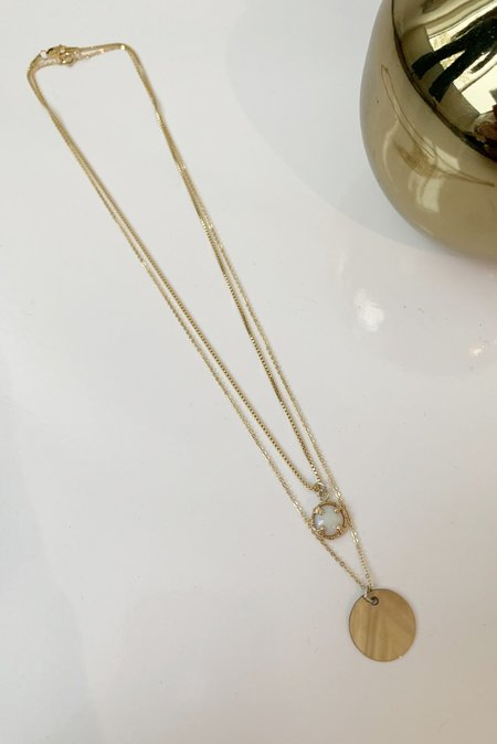 Christina Nicole Jewelry & Home Opal and Coin Layering Necklaces - 14K Gold Fill