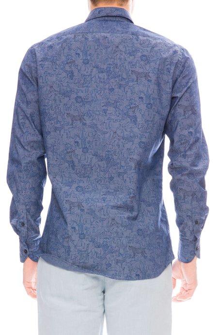 Today is Beautiful Exclusive Safari Print Chambray Shirt - blue