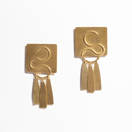 Annie Costello Brown Clea Earrings - Gold Plated