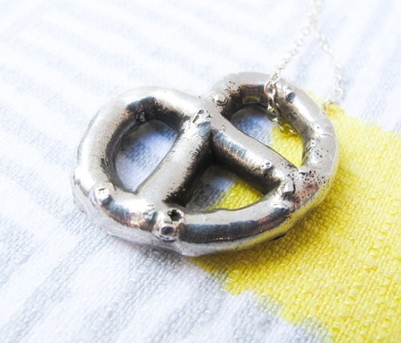 Gold Teeth Brooklyn Stering Silver Pretzel Necklace