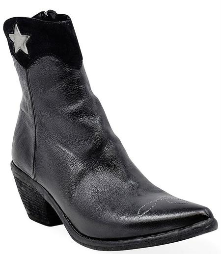 Madison Maison By Fauzian Jeunesse Leather Boot With Silver Star Detail - Navy